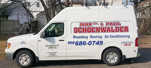 Max Sr. & Paul Schoenwalder Plumbing Heating Air Conditioning modern service truck.